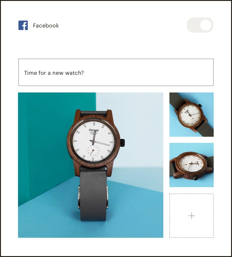 "Content step of the Facebook ad builder where you add images and a headline"">"