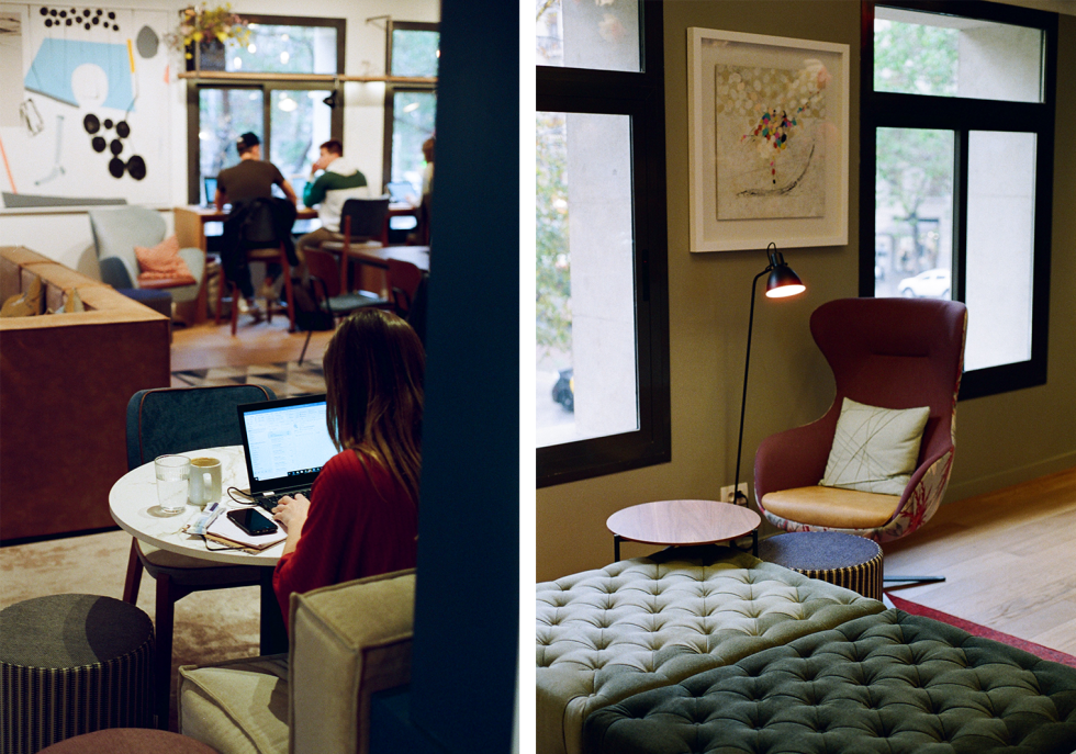 Photograph of a woman using a computer in OneCoWork's coworking space next to a photograph of a nice chair, lamp, and ottoman