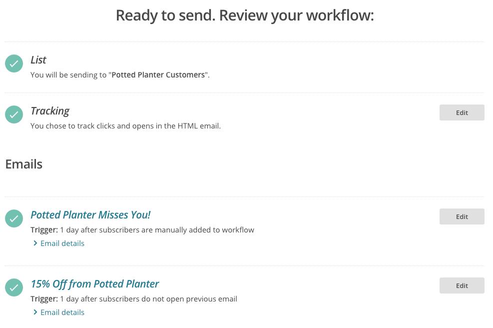 lista de verificación de correos de automatización