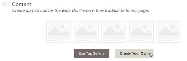 remarketing google-content (contenu)-cliquer sur create your own (créez votre propre annonce)