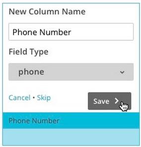 Image of create new column options