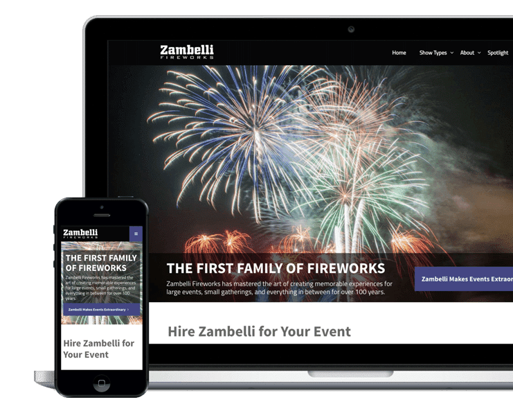 Website design for fireworks company displayed in Macbook and iPhone layout. Both designs include logo at top of page with links in white text against black background. For Macbook webpage, large image of fireworks is at center of page. Towards bottom of fireworks image is text about company with contact information links. For the iPhone layout, image of fireworks is the background image for text that overlays at the center.