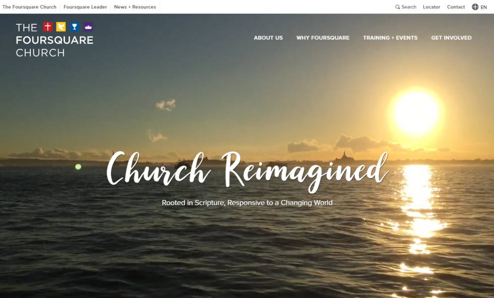 """Website homepage screenshot for a church. Logo in top right corner along with white text hyperlinks placed vertically in top left. Background image of sunset on the ocean makes up entire homepage. In the center, white text in cursive font overlays image, """"Church Reimagined"""". Supporting text in smaller font and not cursive underneath."""