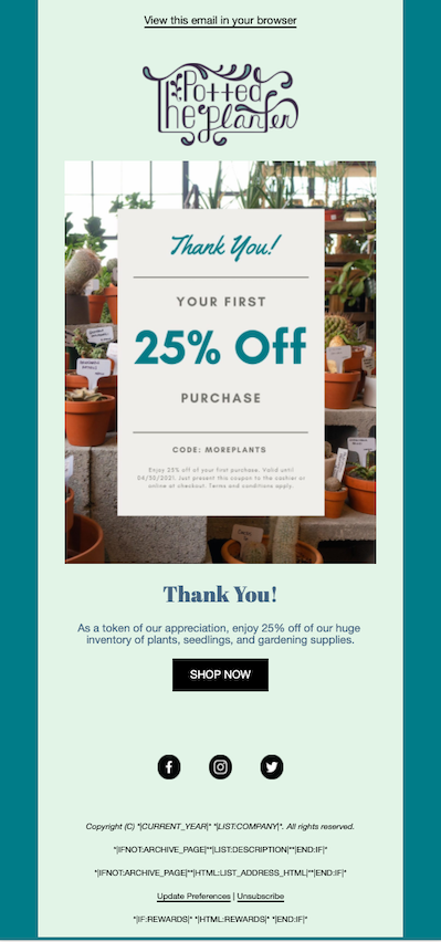 An example of an email designed in the new builder with a promo code for 25 percent off