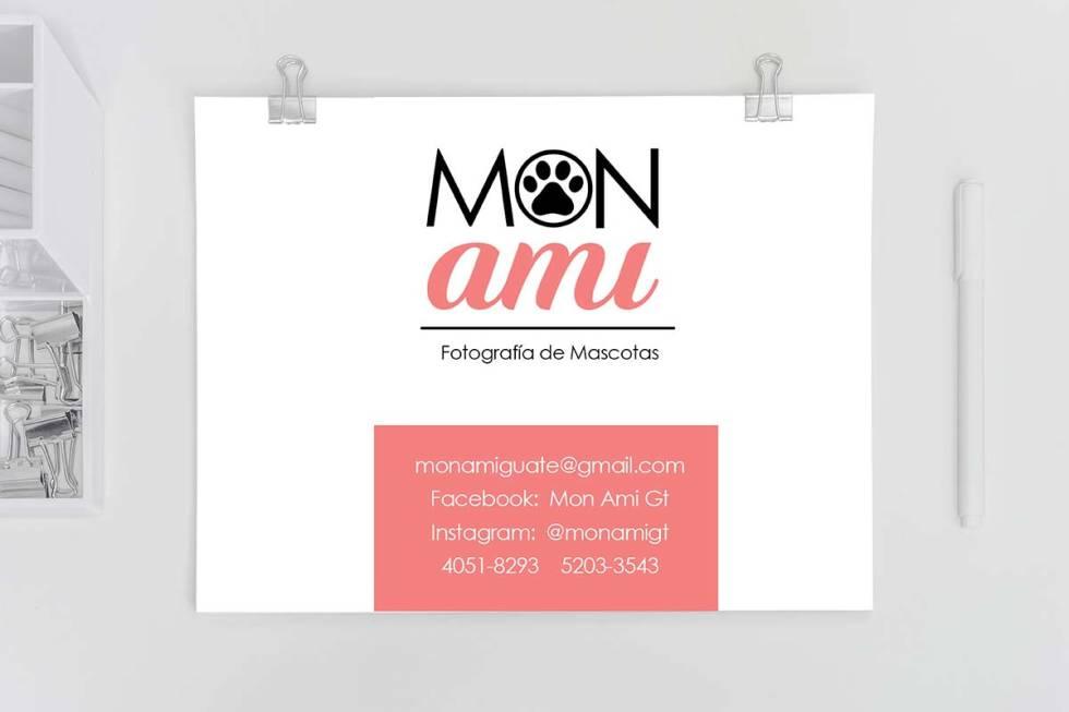 Mon ami logo and contact card