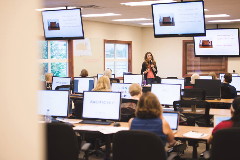Image of a classroom with monitors