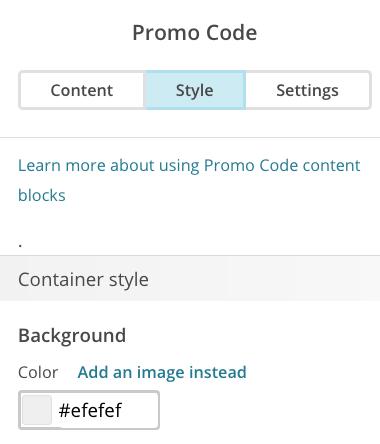 use promo code content blocks. Black Bedroom Furniture Sets. Home Design Ideas