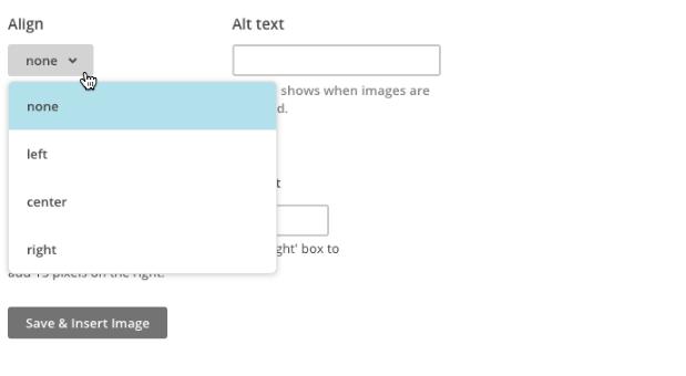 Pointer clicks the align drop-down menu.
