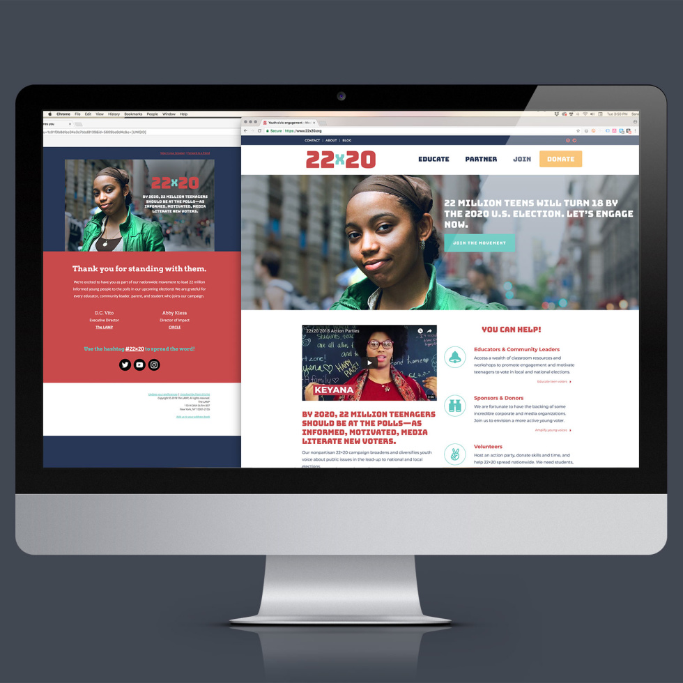 Photo of website within desktop parameters. Website shows rebranding of a nonprofit dedicated to increasing voter turnout amongst youth.