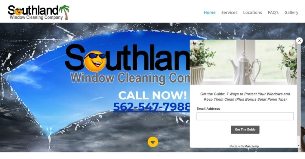 """Image of a pop up to put in your email address to """"get the guide: 7 ways to protect your windows and keep them clean"""""""