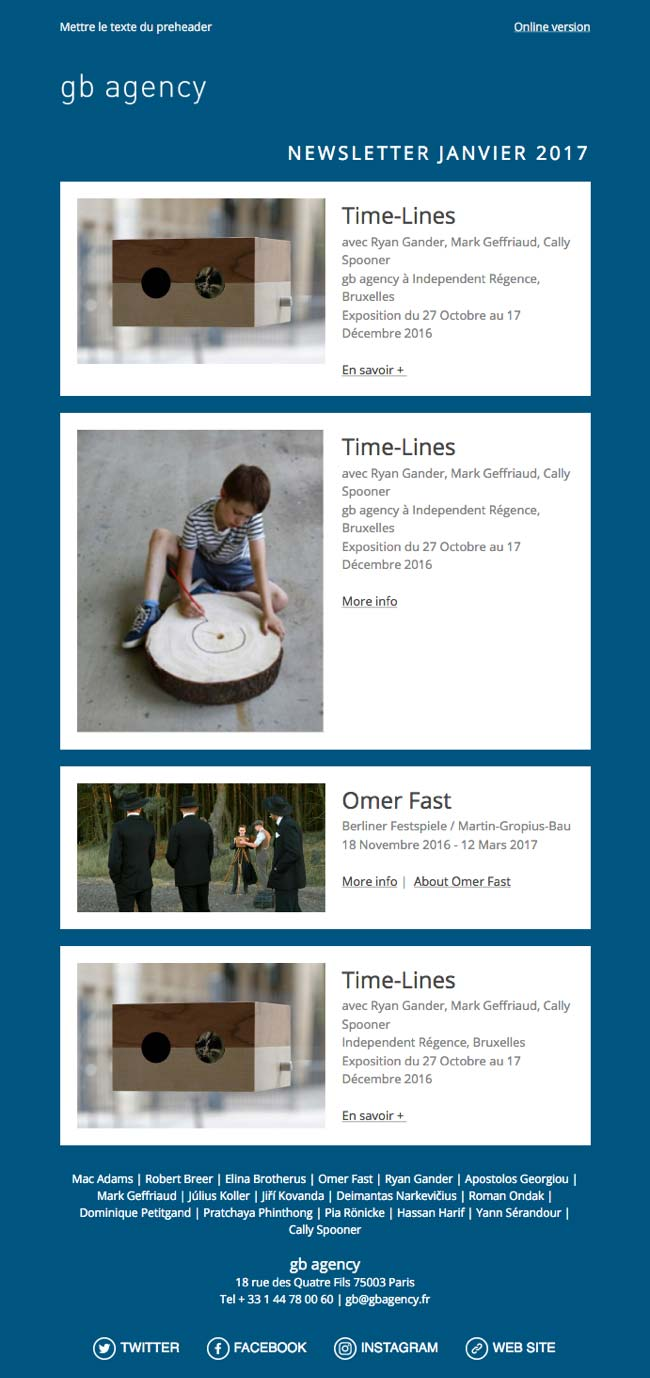 Image of newsletter template for Gb Agency