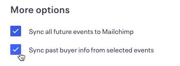 Cursor Clicks - Checkbox - Mailchimp by Eventbrite more options