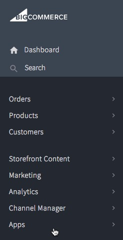 Image: a screenshot of the apps section of a bigcommerce account