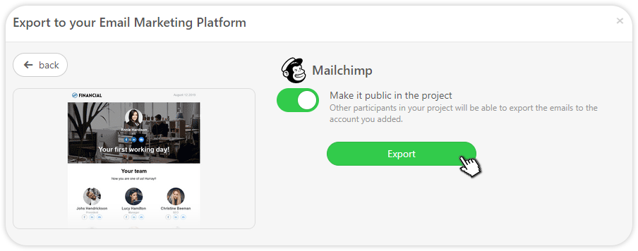 Image of exporting to Mailchimp