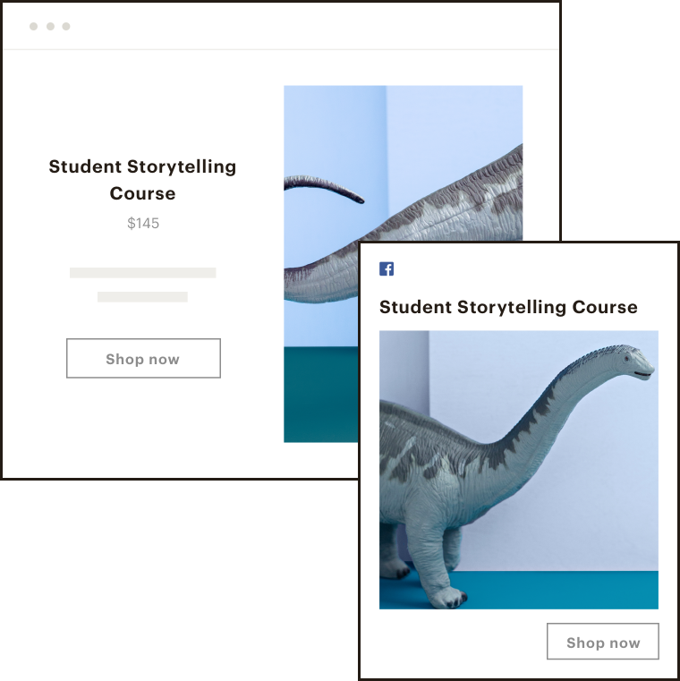 A landing page and Facebook Ad displaying information about a Student Storytelling Course