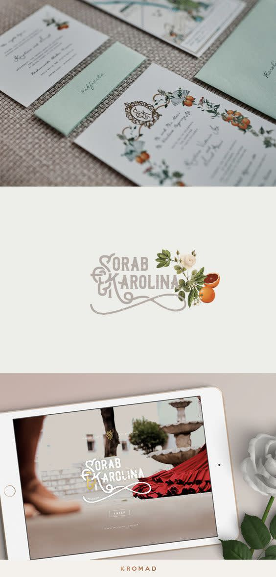 Vertical rectangle split into three even parts horizontally. Top part includes photo of three different shaped and branded cards. The cards have intricate floral designs and text is in cursive. Middle part of image has beige background with colorful logo at the center, which includes cursive text and a small attached illustration. Bottom half includes photo of an iPad with and image of a floor view of a fancy fountain as its background overlayed with a logo. iPad sits next to some greenery and a glass.