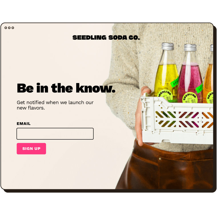 """A landing page for Seedling Soda and a signup form with the text, """"Be in the know""""."""