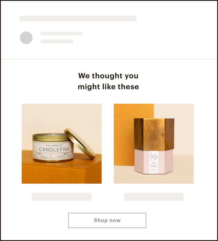 An image of an automated email with product recommendations.