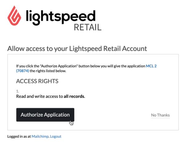 Autorización del punto de venta minorista Lightspeed