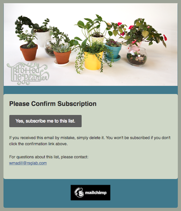 Image: a screenshot of a sample opt in confirmation email in a subscriber's inbox