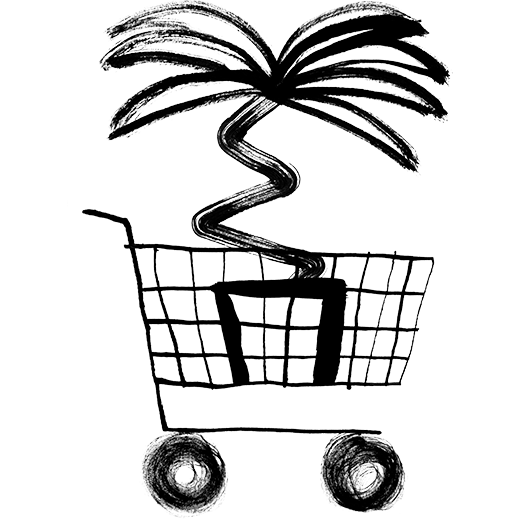 illustration of a shopping cart with a plant