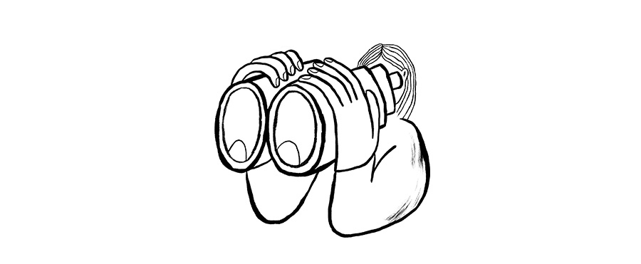 Illustration of a person looking through binoculars.