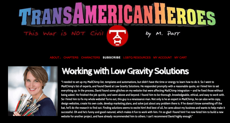 Image displaying a testimonial from a client of Low Gravity Solutions