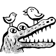 Illustration of alligator with birds sitting on it