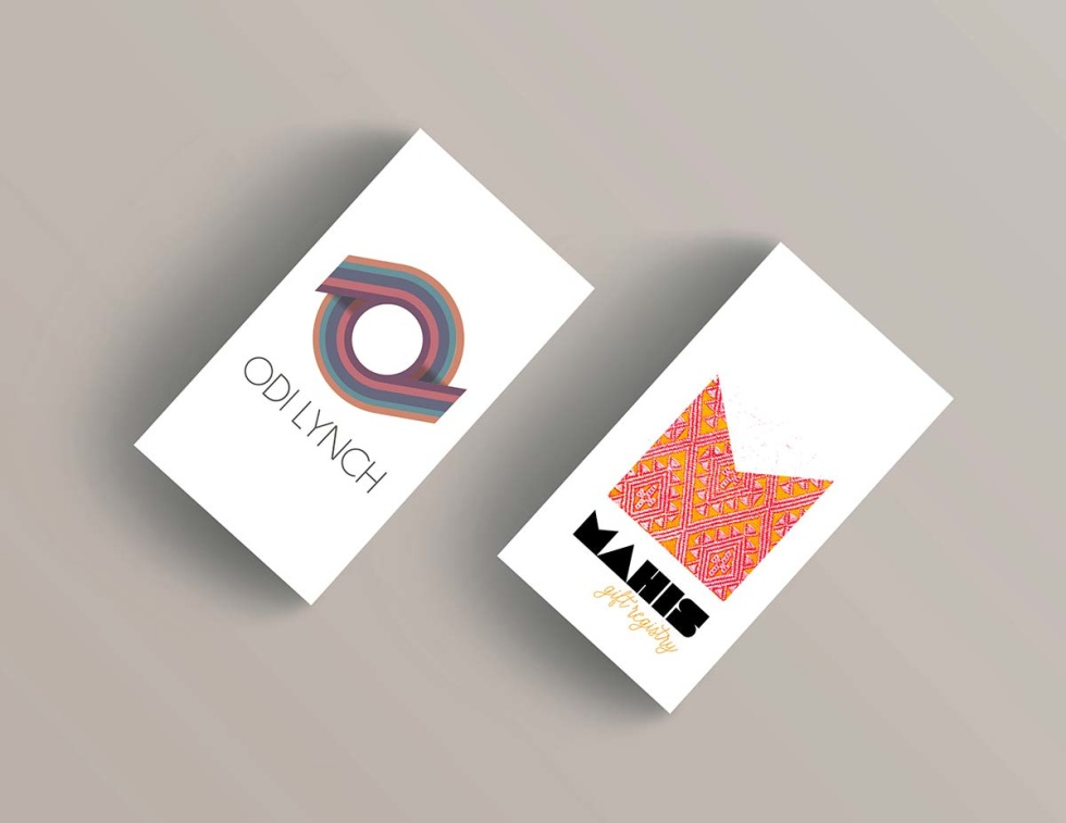 Branding assets featuring two logos on cards.