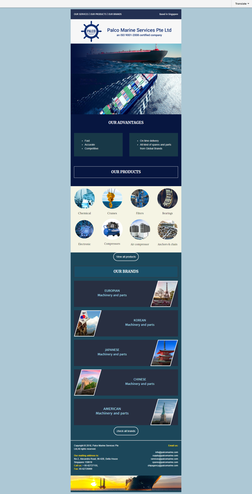 Email newsletter template featuring image header of company logo, image of cargo ship, images of shipping products. Colors are various shades of blue.