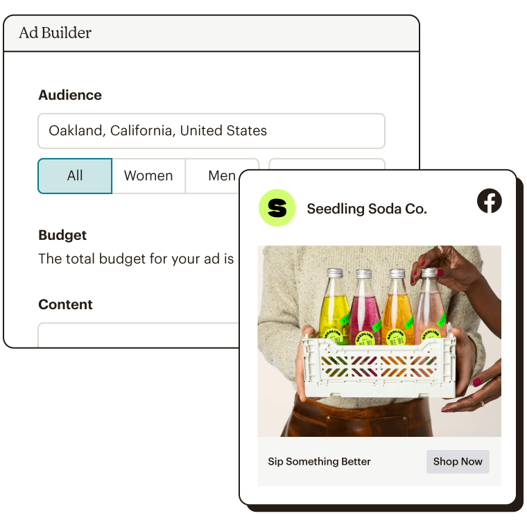 Ad builder details with Facebook ad preview.