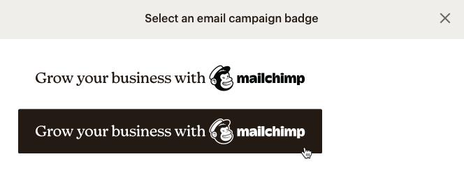 fenêtre modale sélection badge
