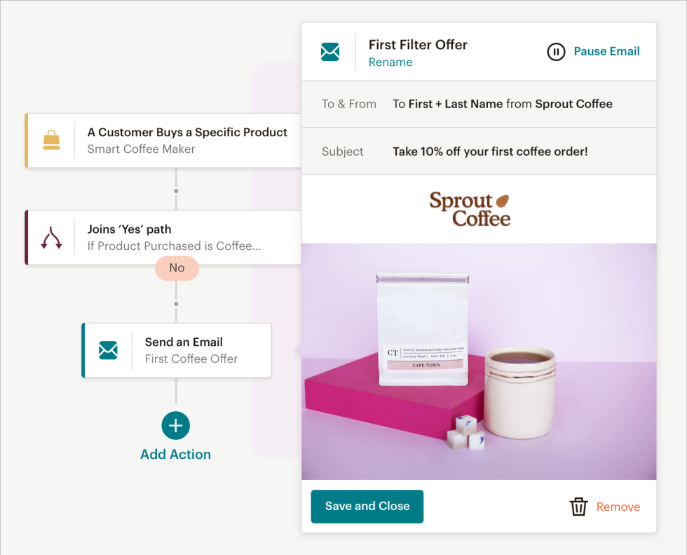 A visual from Mailchimp's Customer Journey Builder.