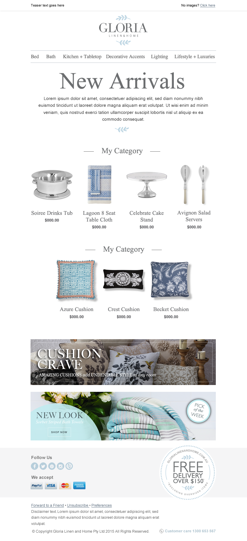 Image of Gloria newsletters with the text New Arrivals