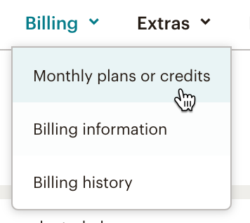Cursor clicks Billing Monthly plans or Credits