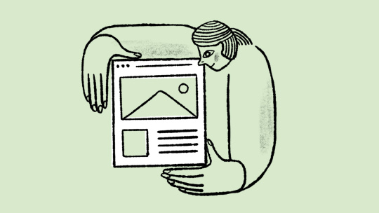 Illustration of a person holding a web page
