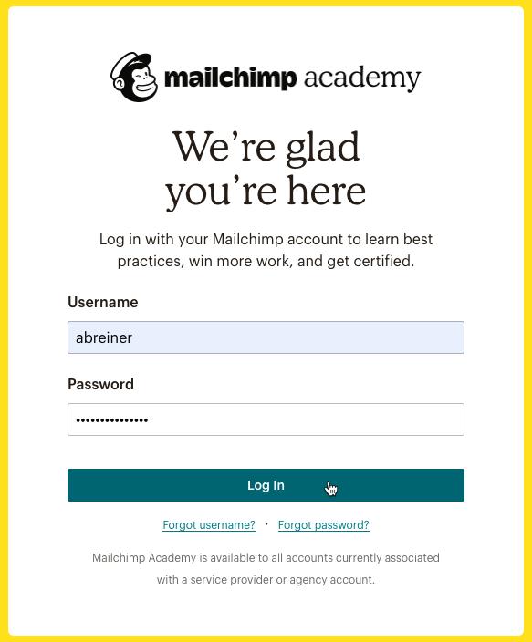 Cursor Clicks - Log In - Mailchimp Academy