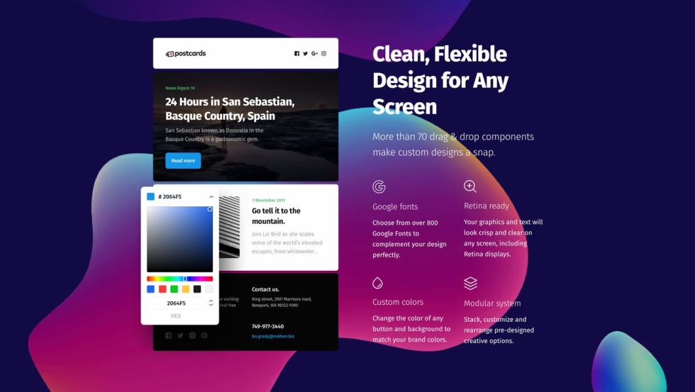 "Image of a website that says ""Clean, Flexible design for any screen"""