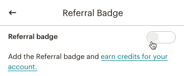 referral badge toggle off