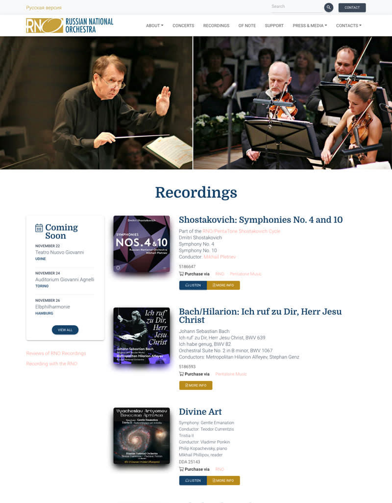 Image of a webpage for the Russian National Orchestra