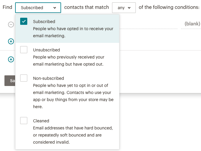 Segmentation avancée - barre find contacts (rechercher des segments)