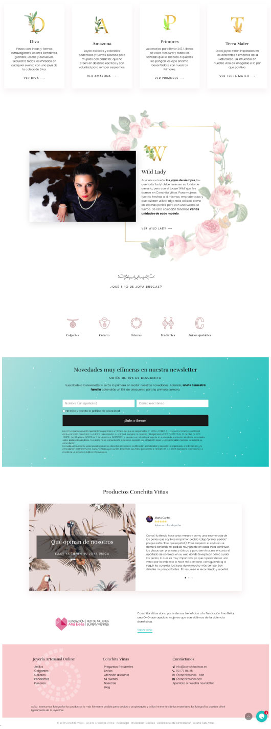 Email template. Can be broken down into five parts. Top part includes four separate lettered cards. Each card has one letter with a word that begins to the corresponding letter on the card and small supporting text. Below this, white background with illustrations of floral designs and a photo of a woman looking at the camera. Black text scattered around. Below, teal rectangle box with spaces to input information. Below, white background with image of open book with an illustration on the left page and text on the right page. Pink bottom border with links to social media and further contact information.