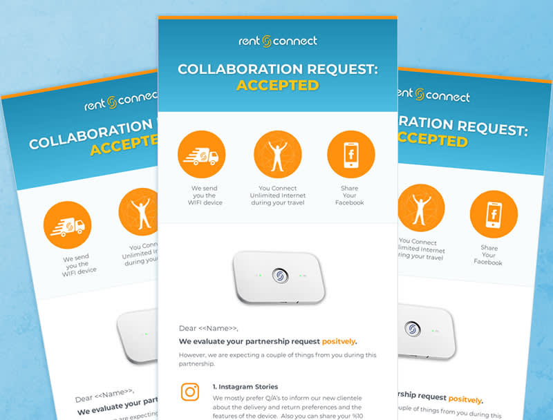 Three identical HTML layouts featuring graphic design, images, CTAs, logo and descriptive accompanying text. Color scheme is light blue, orange and white with black text.