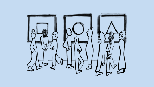Illustration of people looking at art