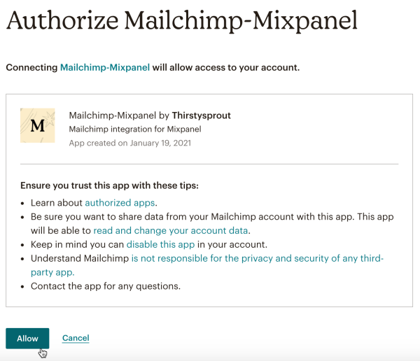 Mailchimp-Mixpanel-Authorize