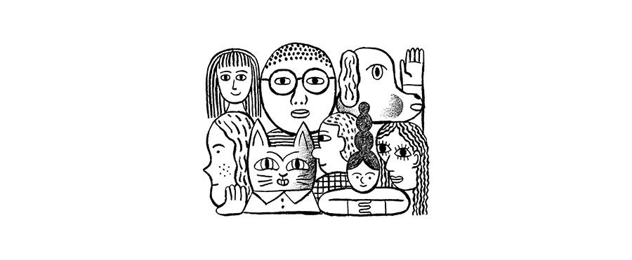 Doodle of different faces next to each other. There is a mix of male presenting people, female presenting people, and animals.