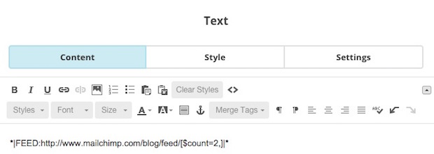 A screenshot of a feed merge tag in the editing pane of the campaign builder.