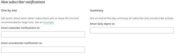 lists listnamedefaults subscribenotifications