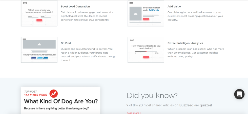 Screenshot of what benefits Outgrow's tools help with on your site.
