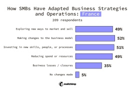 France SMBs Changes made to business strategy or operations Exploring new ways to market and sell 49% Making changes to the business model 52% Investing in new skills, people, or processes 51% Reducing spend or resources 49% Business losses/closures 35% No changes made 5%